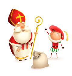 saint nicholas and helper zwarte piet with gifts vector image