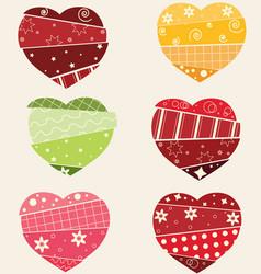 Scrapbook hearts set vector image