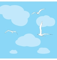 Sea gulls soar in the sky vector