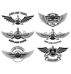 Set airplane show labels emblems with wings vector