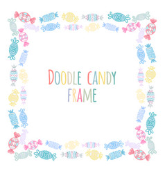 Set of round frames of doodle candy pattern the vector