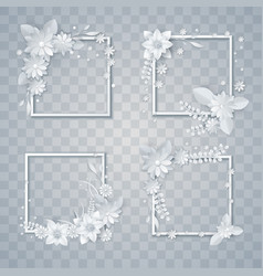 set of white paper flowers and leaves frames vector image