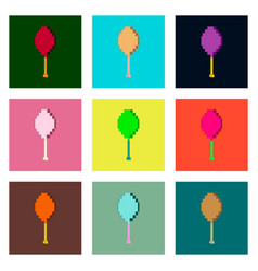 Set pixel icons of fried chicken drumsticks vector