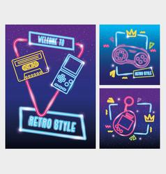 Set video game nineties retro style neon vector