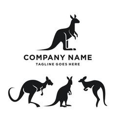 Silhouette kangaroo set logo design template vector