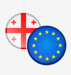 stickers round flag of georgia and the european vector image