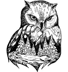 stylized owl with nature landscape ink vector image