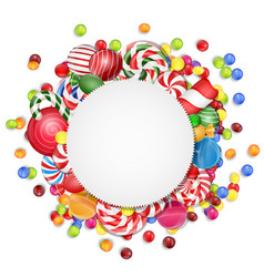 Sweets background with frame candies vector