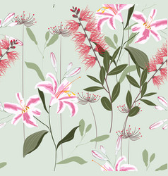 tropical plants royal lilies exotic flowers vector image