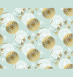 turquoise and gold dandelion seamless pattern vector image