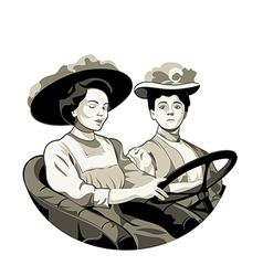 Vintage driving women vector