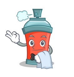 Waiter aerosol spray can character cartoon vector