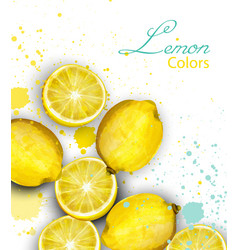 Watercolor lemons card juicy fruits poster vector