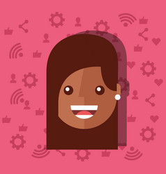 woman face with social media networks icons vector image