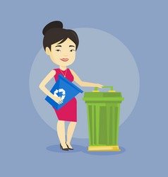 Woman with recycle bin and trash can vector