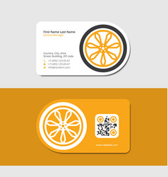 Yellow business card automotive service station vector