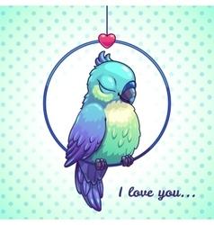 Cute cartoon blue bird vector