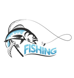 fish jumping for bait silhouette vector image