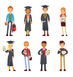 happy students and graduates young learning people vector image vector image