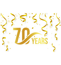 Isolated golden color number 70 with word years vector