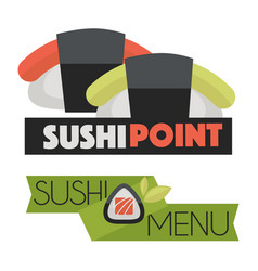 sushi point menu logo design vector image