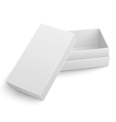 Template of white cardboard box with opened lid vector image vector image