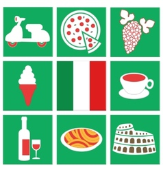 collection of icons about italy flag food vehicle vector image vector image