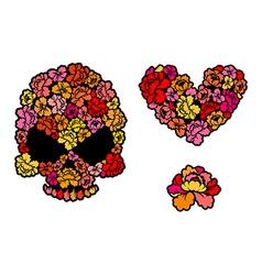 Flower skull Love Heart of roses Beautiful flower vector image