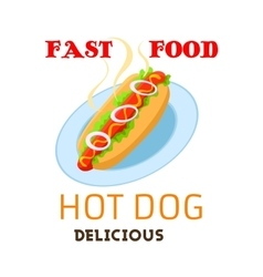 Hot dog icon fast food meal emblem vector image vector image