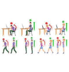 man and woman in correct and wrong positions for vector image