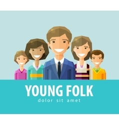 people young folk logo design template vector image vector image