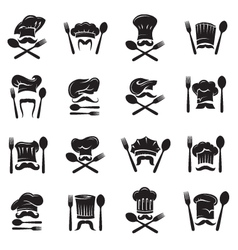 set of spoon fork and chef vector image vector image
