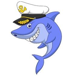 Shark captain cartoon vector image