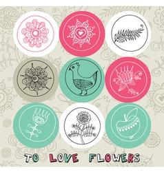 Vintage love pattern elements vector image