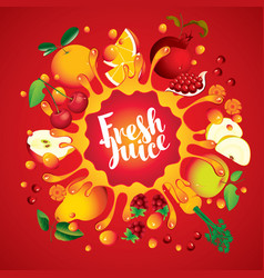 banner with fruit and splashes fresh juice vector image vector image