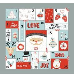 Christmas advent calendar cute decoration elements vector image