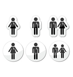Man and woman people with awareness ribbons icons vector image vector image