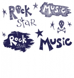 rock music set vector image vector image