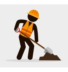 silhouette man worker shovel and cement vector image