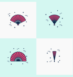 thin line handheld fan icons opened half-opened vector image vector image