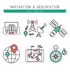 Different navigation icons set with rounded vector image vector image