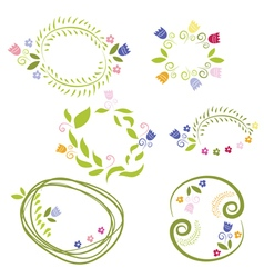 romantic set labels with flowers vector image