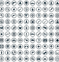 100 crime justice icons vector image