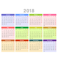 2018 year annual calendar monday first english vector image