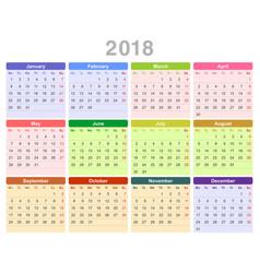 2018 year annual calendar monday first english vector