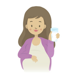 a pregnant woman holding a glass of milk vector image