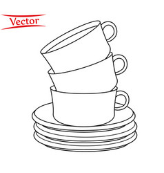 A stack line coffee cups vector