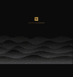 Abstract black wave background and gold shining vector