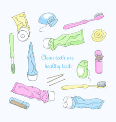 Accessories for dental hygiene vector