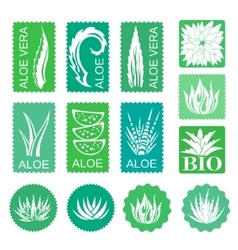 Aloe vera design elements Stickers vector image